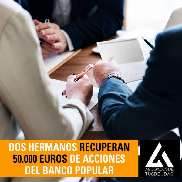 dos hermanos recuperan 50000 euros de acciones del banco popular